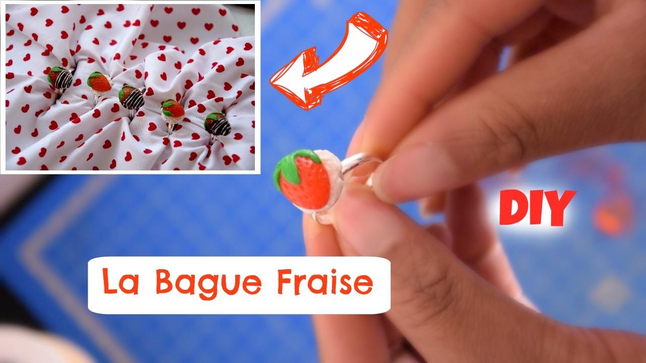 DIY Bague Fraise | TUTO FIMO St Valentin \ Strawberry Ring Polymer Clay Tutorial