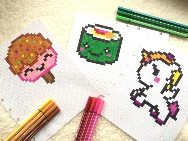 Art pixel art comment dessiner une t te de mort arc en ciel kawaii le monde du pixel art - Dessiner une tete de mort ...