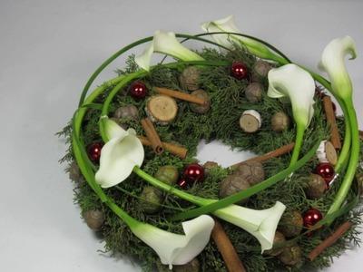 2016 - DIY. Tutoriel couronne (verte) de Noël - Carrément Fleurs