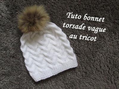 TUTO BONNET TORSADE VAGUE TRICOT Hat beanie knitting GORRO DE TRENZAS AGUJAS