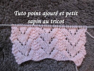 TUTO POINT AJOURE SAPIN AU TRICOT Stitch knitting PUNTO TEJIDO DOS AGUJAS