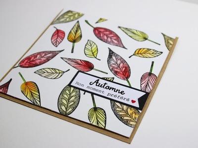 Aquarelle et tampons - carte thème automne