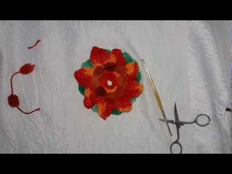 Crochê de flor pompom