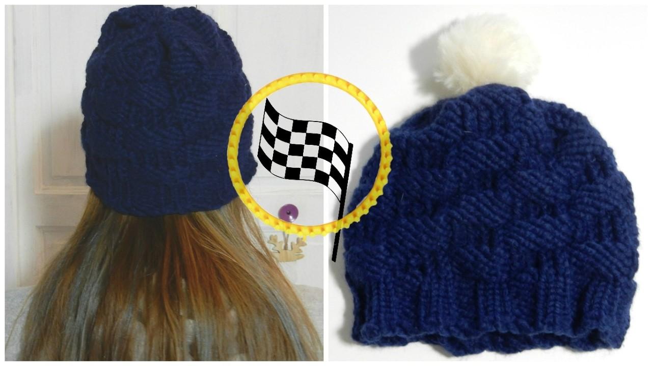 diy bonnet point damier au tricotin circulaire. Black Bedroom Furniture Sets. Home Design Ideas