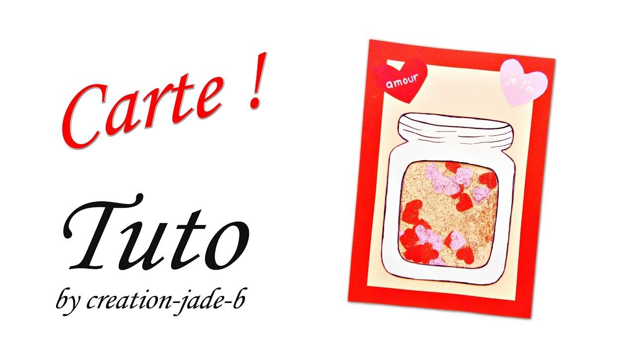 Papier diy saint valentin carte avec jarre remplie de - Carte saint valentin a fabriquer ...