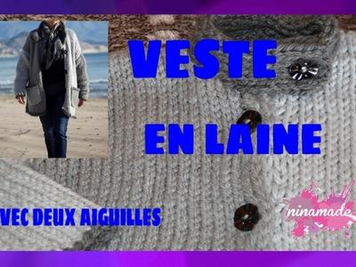 DIY. Veste En Laine Avec Deux Aiguilles.Woolen Jacket With Two Needles.