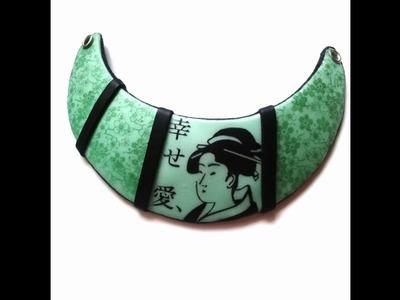 Tuto fimo polymer plastron geisha japonisant pochoir japon Graine Créative