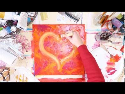 BecomeTheArtist.com : DIY Peinture Acrylique Coeur (Texture faite de serviettes)