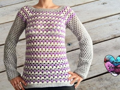 Pull granny facile (toutes tailles) crochet. Granny sweater (all sizes) crochet (english subtitles)