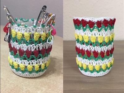 Tuto, vase, pot tulipe au crochet spécial gaucher