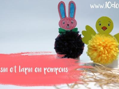 DIY. Bricolage Pâques : Lapin et Poussin en pompons