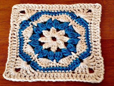 وحدة كروشي ملونة اساس بطانية - سلسلة وحدات كروشي-     motif crochet coloré pour couverture