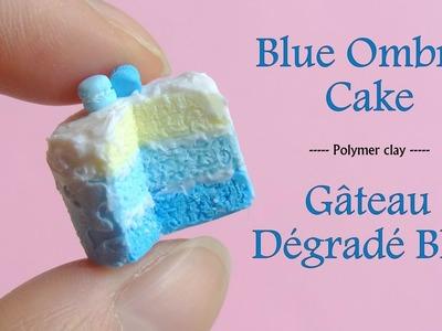 Blue Ombre Cake Polymer Clay. Gâteau Dégradé Bleu en Fimo