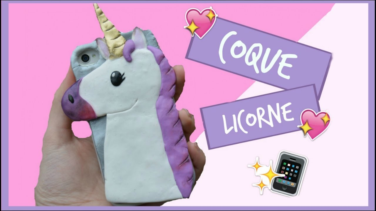 tuto fimo coque de t l phone licorne phone case unicorn polymer clay. Black Bedroom Furniture Sets. Home Design Ideas