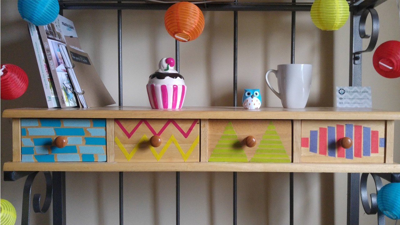 DIY 4 customisations de tiroirs en Washi Tape