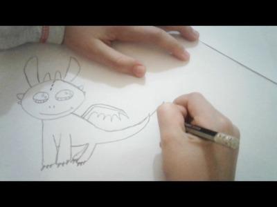 Dessin du dragon Krokmou en cute draw