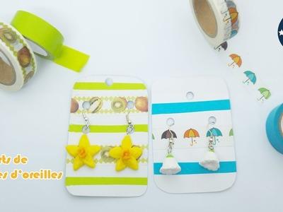DIY- Créer des supports de boucles d'oreilles avec du papier cartonné et du Washi Tape
