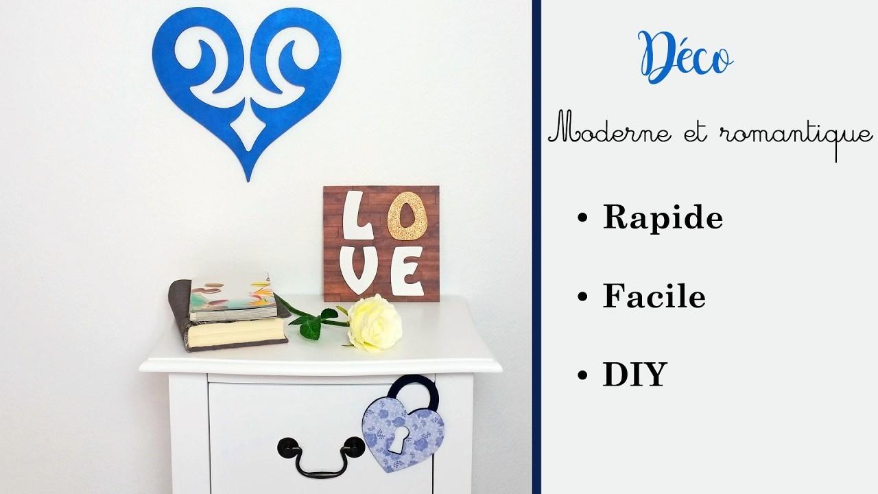 """DIY - Déco romantique et moderne avec des supports en bois """"love cœur amour saint valentin"""""""