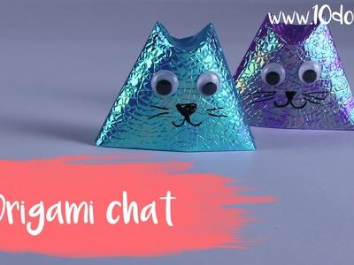 Origami facile pour enfants : chat en papier (DIY. Tutoriel vidéo 10 Doigts)