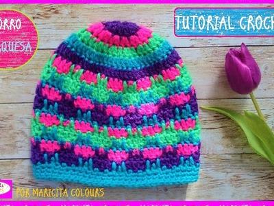 """Gorro a Crochet """"Turquesa"""" por Maricita Colours"""