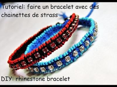 Faire des bracelets avec des chainettes de strass (DIY rhinestone bracelet)