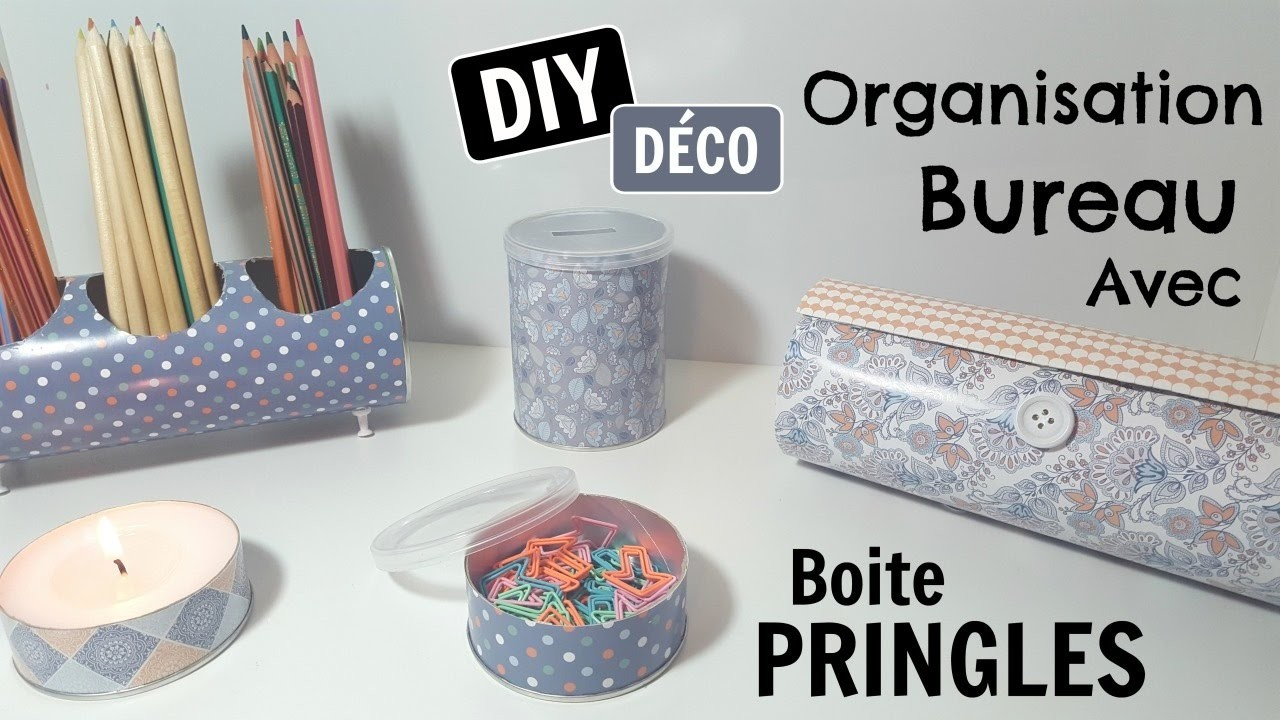 7 diy organisation chambre bureau boite pringles. Black Bedroom Furniture Sets. Home Design Ideas
