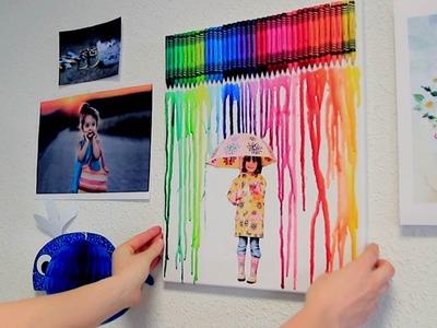 Créer un tableau tendance en faisant fondre des crayons de cire (DIY. Tutoriel vidéo 10 Doigts)