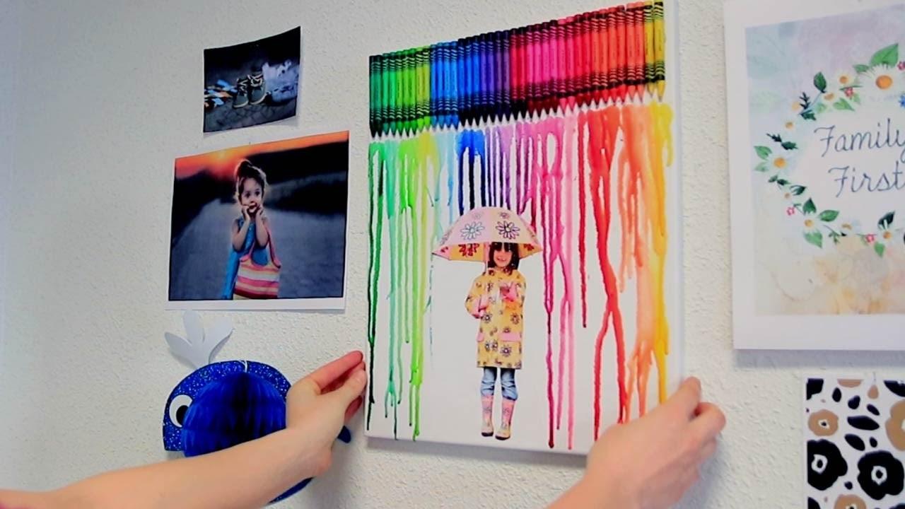 Cr er un tableau tendance en faisant fondre des crayons de - Creer un tableau photo ...
