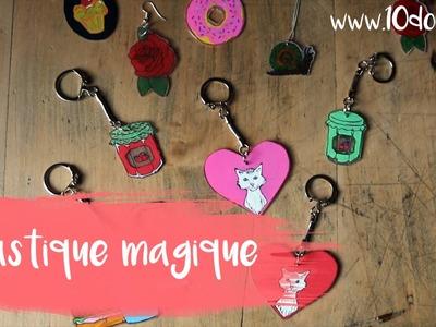 Plastique fou : Fabriquer un porte-clés et des bijoux (DIY. Tutoriel vidéo 10 Doigts)