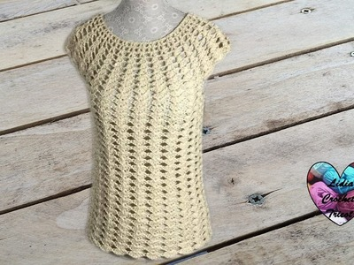 Blouse top femme crochet. Woman top (all sizes) crochet (english subtitles)