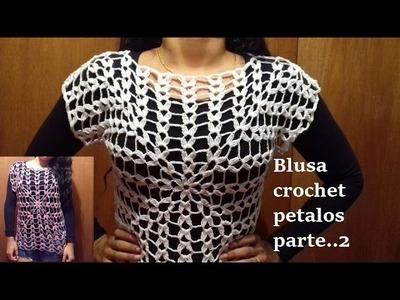 Blusa a crochet con pétalos para la primavera (parte 2)