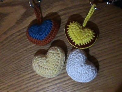 Crochet coeur porte clef. 2 couleur en francais