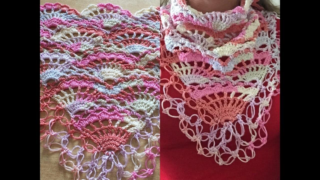 Crochet tuto charpe fleurie au crochet ch le tropical tr s facile au crochet chal tropical - Echarpe au crochet facile a faire ...