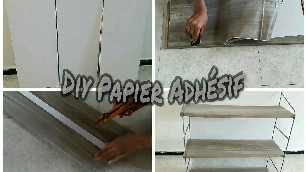 DIY : Nouvelle étagère avec du papier adgésif تجديد الأثاث بالورق اللاصق