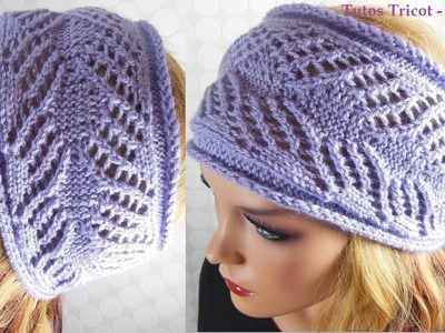 Tuto Tricot Point Losanges Ajourés Headband bandeau femme | Headband knitting tutorial