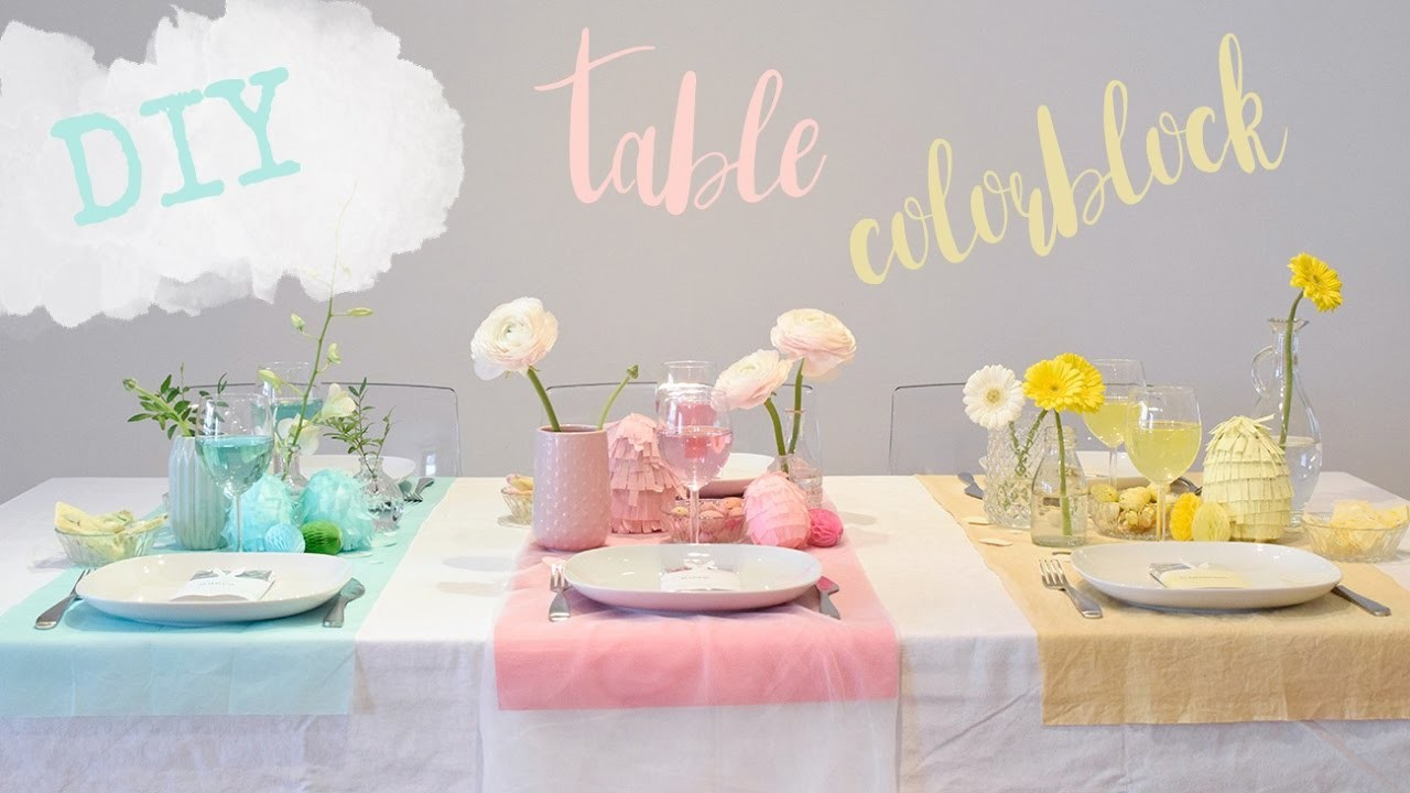 DIY table de Pâques colorblock. DIY color block party table