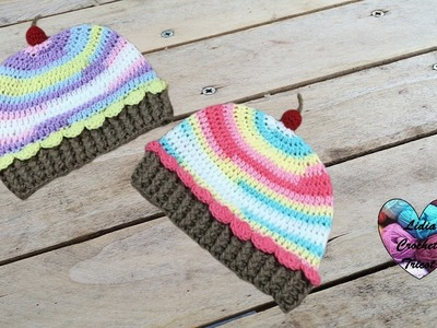 Bonnet Cup Cake crochet (toutes tailles). Cup Cake beanie crochet (all sizes. english subtitles)